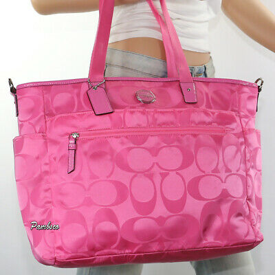 🌺🌺NWT Coach Signature Nylon Multifunction Diaper Baby Bag Tote F77577 Hot Pink