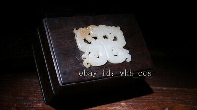 """6"""" Chinese antiques Handcrafted Blood ebony inlaid jade old Storage Box A"""