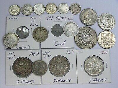 France Lot of 19 Mostly Different Silver Coins dated 1847 to 1963