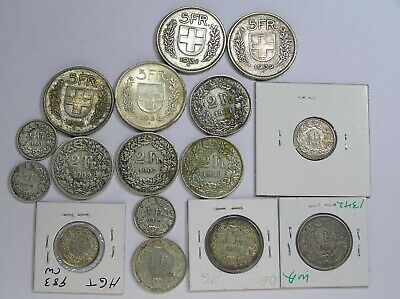 Switzerland Lot of 16 Different Silver Coins dated 1877 to 1954, AU to Circ