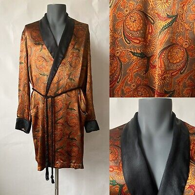 Vintage 1960s Mens Gold Black Satin Robe Dressing Gown Smoking Jacket Size S/M