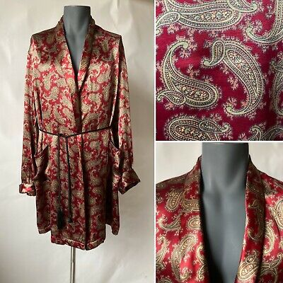 Vintage 1960s Mens Red Gold Satin Robe Dressing Gown Smoking Jacket Size M/L
