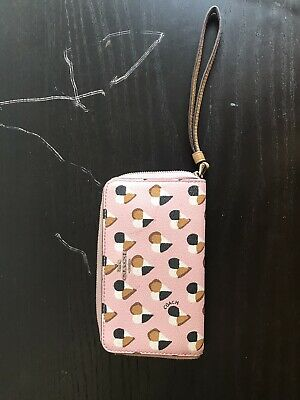 Coach F25963 Phone Wallet Pink Blush Checkered Heart Print Coated Canvas $165