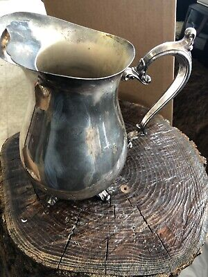 Vintage William Rogers Footed Pitcher Water Ice Lip Silver Plated