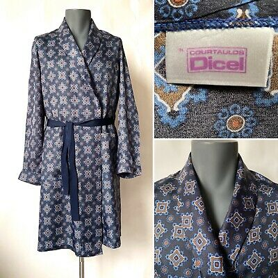 Vintage 1960s Mens Blue Patterned Robe Dressing Gown Smoking Jacket Size S/M