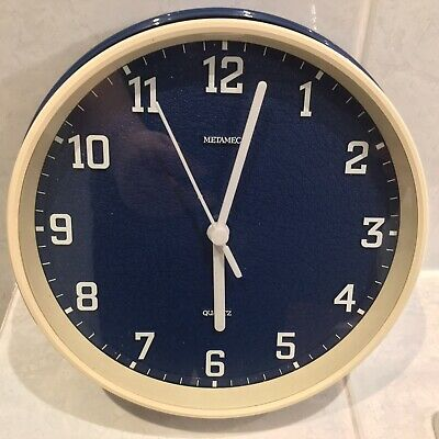 1970s Vintage Retro Blue White Metamec Wall Clock Battery Movement Fully Working