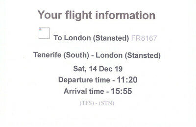 Ryanair Flight Ticket, one way, Tenerife South to London Stansted, 14 Dec 2019,