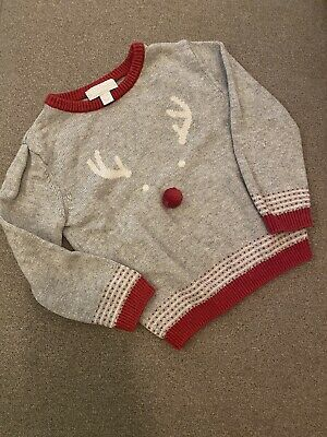 THE LITTLE WHITE COMPANY REINDEER CHRISTMAS JUMPER GREY RED 2-3 Years