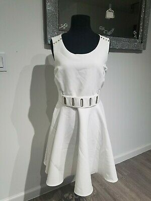 Marilyn Monroe White / Ivory With Gold Accents Fit /Flare Sleeveless Dress Sz L