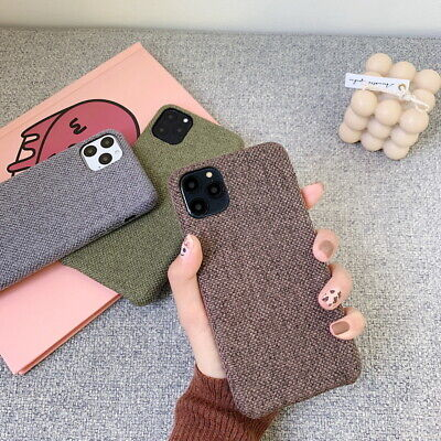 For Apple iPhone 11 Pro Max XS X XR 8 7 Plus Linen Fabric Hard Phone Case Cover