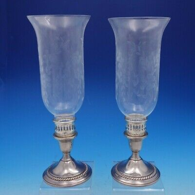 Gadroon by International Sterling Silver and Glass Hurricane Lamp Set (#4459)