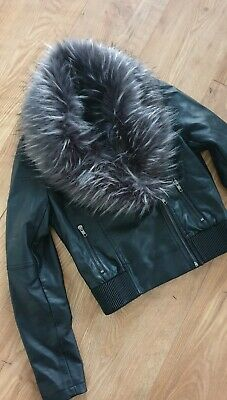 Girls Age 14 Faux Leather Jacket With Detachable Fluffy Fur Collar, Matalan