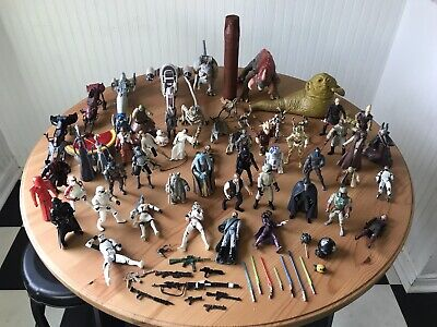 Star Wars Action Figures Loose Lot 50 + LFL Kenner Clone Wars Ewok Han 1990's