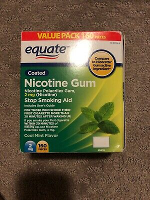 Equate Nicotine Gum 2mg Coated Cool Mint Flavor 160 Pieces NIB
