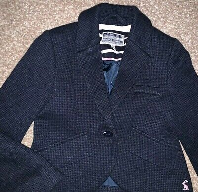 Joules Justine Girls Tweed Style Navy Blue Blazer Jacket Age 5 Excellent Conditi