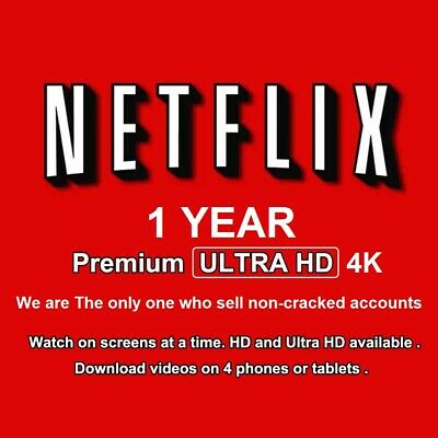 Netflix 4K UltraHD 4 Screens 1 year Private Account With Year Warranty