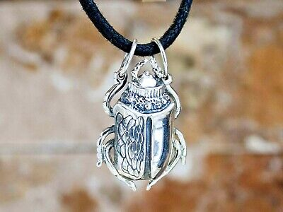 Scarab Beetle Pendant Necklace Egyptian Good Luck Wealth Amulet HANDMADE SILVER