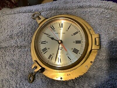 Vintage brass Plastimo quartz ship's time clock see description