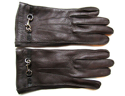 COACH BROWN LEATHER GLOVES, SILVER-TONE BUCKLES, SILK LINING, ITALY sz 7 NWOT