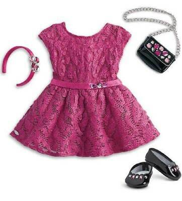 NEW American Girl Merry Magenta Holiday Outfit Dress Purse Shoes Hairband  NRFB