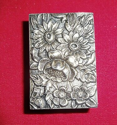 Vintage 1930s S. Kirk & Son Inc Sterling Silver Floral Design Match Box Cover