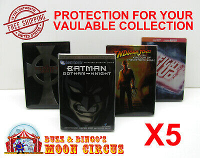 5x DVD (NOT BLU-RAY/UHD) STEELBOOK MOVIE -CLEAR PROTECTIVE BOX PROTECTOR