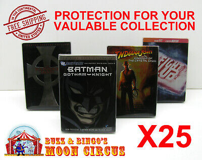 25x DVD (NOT BLU-RAY/UHD) STEELBOOK MOVIE -CLEAR PROTECTIVE BOX PROTECTOR