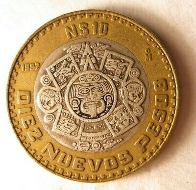 1992 MEXICO 10 PESOS - Rare Bi-Metal Sterling Silver Coin - Lot #D6