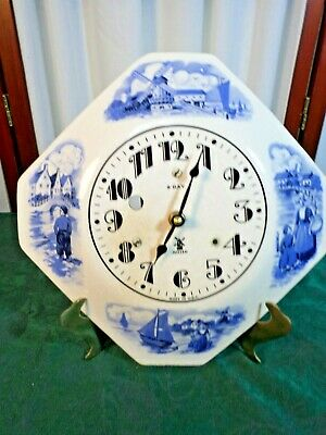 Vintage Miller 8 Day Porcelain Clock Face w/Delft Blue Windmill/People Scenes