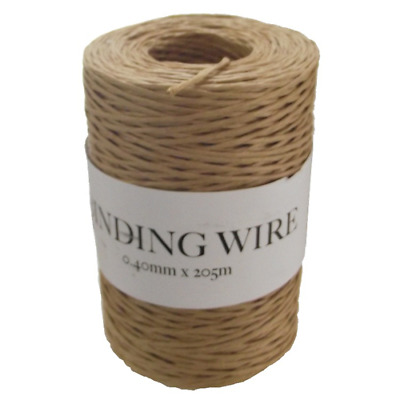 Paper covered florist binding wire Natural/Green 10 metres cut from roll