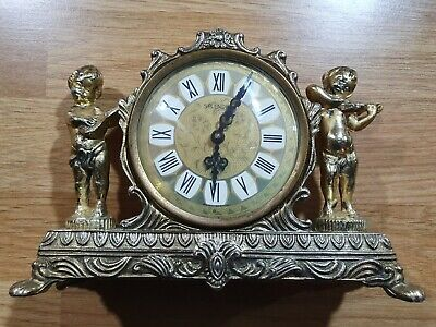 Vintage Metal West German Splendex Wind-Up Cherub Brass Mantle Mantel Clock