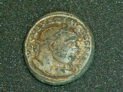 Ref:002 # Roman Empire - Large Silvered AE Follis of Maximianus GENIO POPVLI