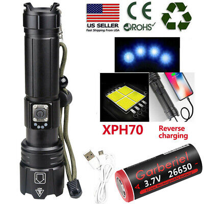 High Lumens Zoomable XHP70.2 5Modes LED USB Rechargeable 18650 26650 Flashlight
