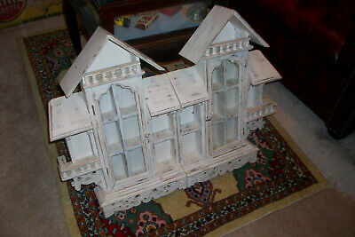 Antique Wood and Glass Decorative Ornate Wall Curio Display Case Cabinet House