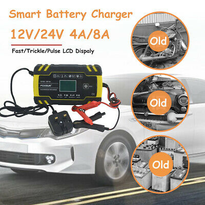 12V/24V Automatic Electronic Car Battery Charger Fast/Trickle/Pulse Modes 4/8AMP
