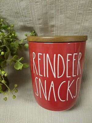 """NEW"" Rae Dunn by Magenta Christmas ""REINDEER SNACKS"" Red Cellar Canister (VHTF)"