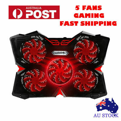 For 12-17'' Laptop 5 LED Fans Notebook Cooling Pad Adjustable Touch Cooler Stand