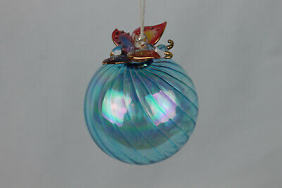 Glass Butterfly Christmas Ornament Bulb Blue Pink LX223 205225