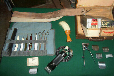 Complete Vintage Set Of Professional Barber Hair Cutting Tools