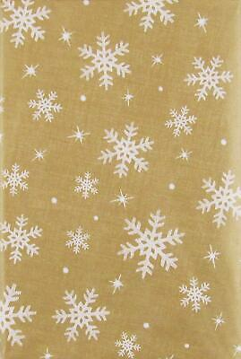 ASST SIZES Vinyl Christmas New Year's Tablecloth GOLD White SNOWFLAKES