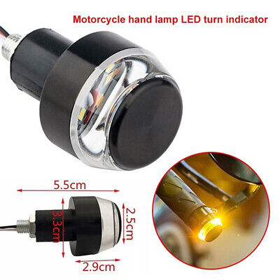 1 Pc LED Motorcycle Handlebar End Turn Signal Light Yellow Indicator Flasher&p