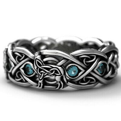 925 Silver Celtic Wolf Ring Eternity Band Sapphire Wedding Jewelry Ring Gift #12