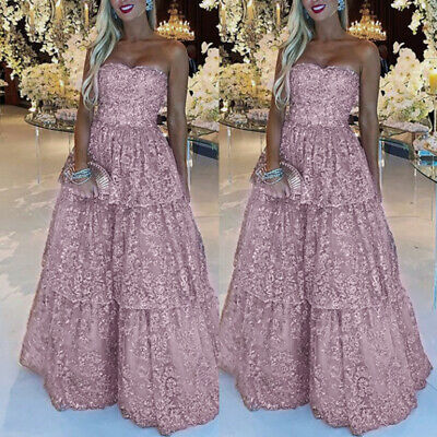 Women Strapless Party Evening Dress Sleeveless Casual Wedding A-line Long Gown