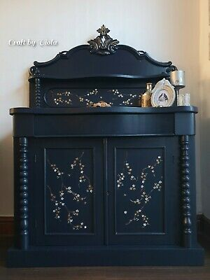 Antique Victorian Mahogany Chiffonier/Sideboard/hand painted/navy blue/gold