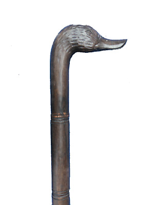 """Duck Walking Stick Cane Wood Hand Carved Handle Antique Finish Men's 39.37"""""""