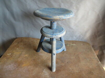 Antique Small Stool a Vis Patina Blue Shabby Factory Workshop Piano Kitchen