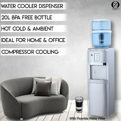 Water Cooler Dispenser 8 Stage Fluoride Water Filter Floor Standing Silver 20L