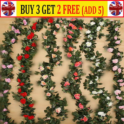 2X 8Ft Artificial Rose Garland Silk Flower String Vine Ivy Wedding Garden DecorJ
