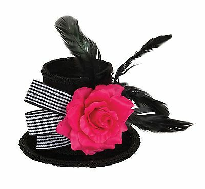 Harlequin Mini Top Hat With Rose Halloween Lady Hat