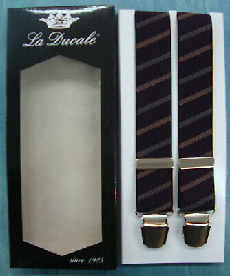 Bretelle BRETELLA uomo LA DUCALE cm.120 made in Italy colore BANDE MARRONE